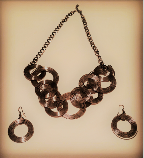 Picture of Exotic COPPER Jewelry Set - necklace and earring set, trendy