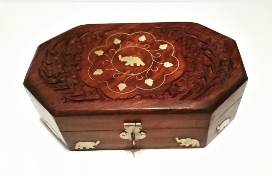 Picture of A Beautifully Hand Made Solid Wood Box Hand Decorated With Elephants