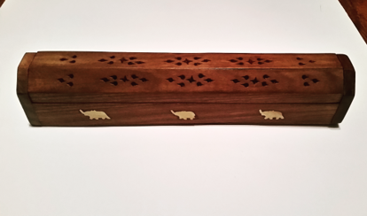 Picture of Incense Burner Box   Wooden Decorative   Elephant Inlay Sliding Lid