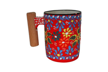 Picture of Colorful Hand Painted Flower Pattern Ceramic Mug With Rosewood Handle- Red