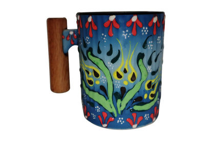 Picture of Colorful Hand Painted Flower Pattern Ceramic Mug With Rosewood Handle- Blue